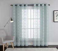 Blue Embroidered Sheer Window Curtain Panel : Grommets, Trellis Design