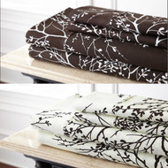 Chocolate and Ivory 4-Piece Queen Size Bed Sheet Set: Leaf Foliage Design, Microfiber