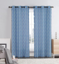 "Blue and Ivory Two Piece Window Curtain Panels: Grommets, Honeycomb Hexagon Design, 76"" x 84"" Long"