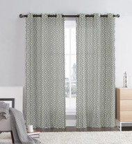 "Gray and Ivory Two Piece Window Curtain Panels: Grommets, Honeycomb Hexagon Design, 76"" x 84"" Long"