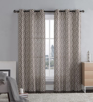 """Chocolate Brown and Ivory Two Piece Window Curtain Panels: Grommets, Honeycomb Hexagon Design, 76"""" x 84"""" Long"""