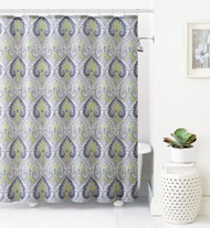 Jacquard Fabric Shower Curtain: Green, Gray and Taupe Ikat Moroccan Design