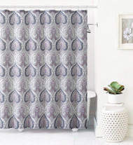 Jacquard Fabric Shower Curtain: Purple, Gray and Taupe Ikat Moroccan Design