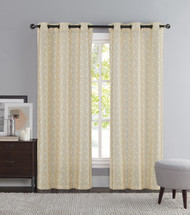 "Taupe and Ivory Two Piece Window Curtain Panels: Grommets, iKat Geometric Design, 76"" x 84"" Long"