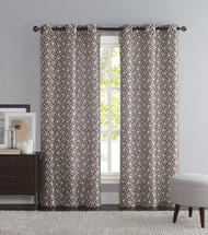 "Chocolate Brown and Ivory Two Piece Window Curtain Panels: Grommets, iKat Geometric Design, 76"" x 84"" Long"