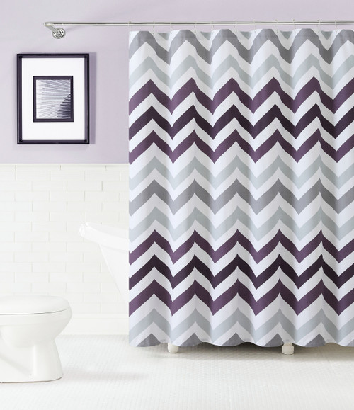 ... Cotton Fabric Shower Curtain: Purple Gray and White, Chevron Design