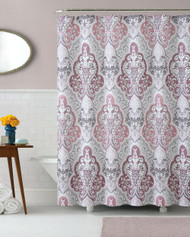 Calais Dobby Fabric Shower Curtain: Mauve, Silver Gray, Taupe, iKat Floral Design