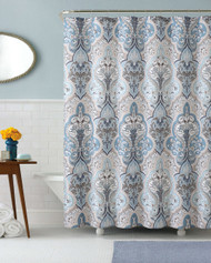 Calais Dobby Fabric Shower Curtain: Blue Brown and White, iKat Floral Design