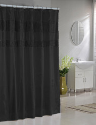 Black Faux Silk Fabric Shower Curtain: Pleated Glossy Accents
