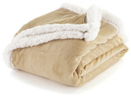 "Sand and White Sherpa Plush Fleece Throw Blanket: Reversible, 50"" x 60"""