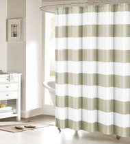 Sand and White Fabric Shower Curtain