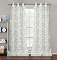 """Set of Two (2) Window Curtain Panels: 75"""" x 90"""", Semi Sheer, Silver Grommets, Off-White, Sage Green, Taupe, Pale Yellow Floral Design"""