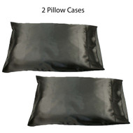 Set of two (2) Black Soft 100% Satin Pillowcases: Standard Queen