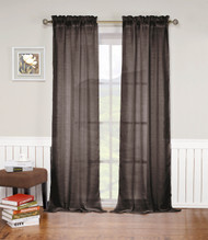 "Chocolate Brown Rod Pocket Window Curtain Panel: Textured Semi-Sheer, 52""W x 84""L, Single Panel"