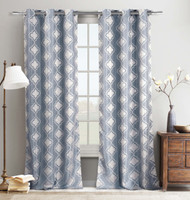 "Set of Two (2) Jacquard Window Curtain Panels: 76"" x 84"", Grommets,  Silver Blue Moroccan Tile Design"