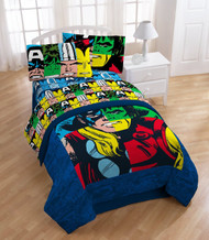 Marvel Heroes Cut Up Sheet Set: Twin, One Pillow Cases, One Flat & One Fitted Sheet