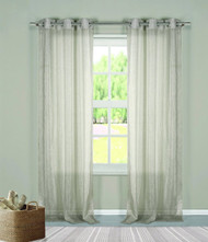 "Two (2) Sheer Grommet Window Curtain Panels: Gray Metallic, 76"" x 84"""