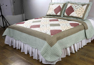 Multicolor 3 Pc Queen/Full Size Reversible Quilt Set:  Patchwork Design, One Quilt and Two Shams