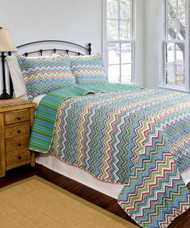 3 Pc Queen/Full Size Reversible Quilt Set:  Chevron Zig-Zag Design, Multi Color, One Quilt and Two Shams