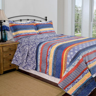 Queen Size 3 Piece Quilt Set, navy, Paisley