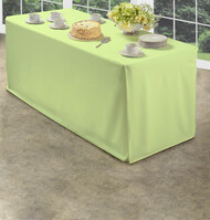 Green Folding Table Tablecloth: Heavy Fabric, Split Corners, To-the-Floor Length
