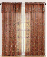 "Cinnamon and Gold Embroidered Sheer Window Curtain Panel: Attached Valance:, 55"" x 90"""