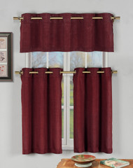 Garnet 3 Pc Kitchen Window Curtain Set with Silver Metal Grommets: 1 Valance, 2 Tier Panels