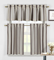 3 Piece Window Curtain Set, taupe, beige and linen
