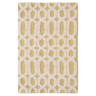 "Yellow and White Bath Floor Mat Area Rug: 100% Cotton, 20"" x 32"""