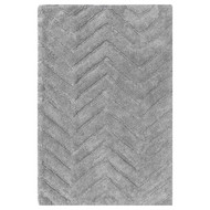 "Gray Bath Floor Mat Area Rug: 100% Cotton, 20"" x 32"", Chevron Design"