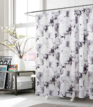 fabric shower curtain gray white black floral design