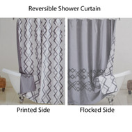 Reversible Fabric Shower Curtain: Gray and White IKAT Design
