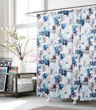 Fabric Shower Curtain: Indigo, Teal, Gray, White Floral Design