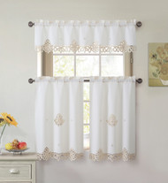 3 Piece Doily Embroidered Kitchen Window Curtain Set: Beige and Gold, 1 Valance and 2 Tiers