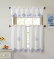 3 Piece Doily Embroidered Kitchen Window Curtain Set: Beige and Blue, 1 Valance and 2 Tiers