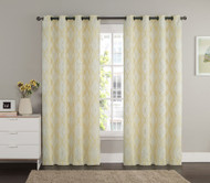 "Jacquard Window Curtain Panel: Beige, Gold, Metallic Silver, Swirl Design, Grommets, 55"" x 90"""