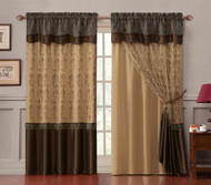 "Double-Layer Window Curtain Drapery Panel: Gold Back Panel with Chocolate Brown Embroidered Sheer Front and Valance, 55""x90"""