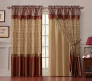 "Double-Layer Window Curtain Drapery Panel: Gold Back Panel with Cinnamon Embroidered Sheer Front and Valance, 55""x90"""