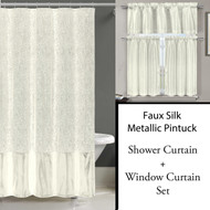 Pearl White Shower Curtain and 3 Pc Window Curtain Set:  Metallic Raised Pin Dots Abstract Floral Design
