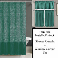 Teal Shower Curtain and 3 Pc Window Curtain Set:  Metallic Raised Pin Dots Abstract Floral Design