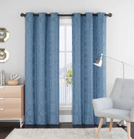 "Set of Two (2) Blue Window Curtain Panels: 76"" x 84"", Grommets, Geometric  Design"