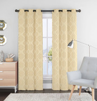 "Set of Two (2) Linen and Gold Window Curtain Panels: 76"" x 84"", Grommets, Geometric Design"