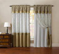 "One Piece Window Curtain Drapery Sheer Panel: White and Gold, Attached Backing and Valance 55""x90"":"