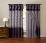 "One Piece Window Curtain Drapery Sheer Panel: Plum Purple and Gold, Attached Backing and Valance 55""x90"":"