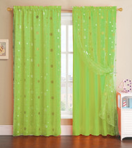 Lime Green Window Curtain Panel with Circle Design Sheer Top Layer: 55in x 90in