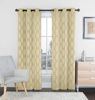 "Two (2) Natural Linen and Beige Window Curtain Panels: 76"" x 84"", Grommets, IKAT Diamond Design"