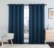 "Two (2) Blue Window Curtain Panels: 76"" x 84"", Grommets, IKAT Diamond Design"