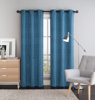 "Two (2) Blue Window Curtain Panels: 76"" x 84"", Grommets, Scroll Design"