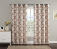 "Jacquard Window Curtain Panel: Cinnamon, Taupe, Metallic Silver, Swirl Design, Grommets, 55"" x 90"""