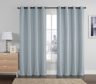 "Jacquard Window Curtain Panel: Blue, Light Gray, Silver, Geometrical Design, Grommets, 55"" x 90"""